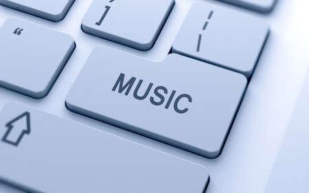 pentagrama musical: Texto 3d música signo botón en el teclado con enfoque suave Foto de archivo