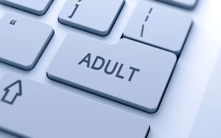 vocational high school: Adult word button on keyboard with soft focus Stock Photo