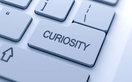 curiosity: Curiosity text button on keyboard with soft focus  Stock Photo