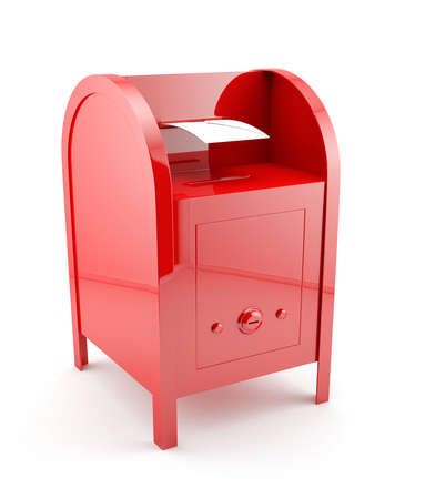 3d illustration of red mailbox with envelope. Isolated on white background illustration