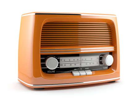 3d illustration of orange retro radio. Isolated on white background illustration