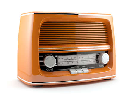 fm radio: 3d illustration of orange retro radio. Isolated on white background