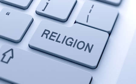 Religion word button on keyboard with soft focus  photo