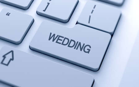 Wedding word button on keyboard with soft focus photo
