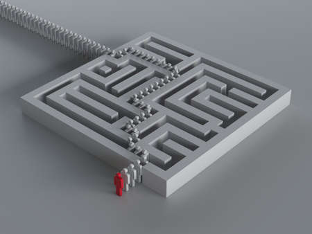 3d render of maze with leadership  Conceptual illustration illustration