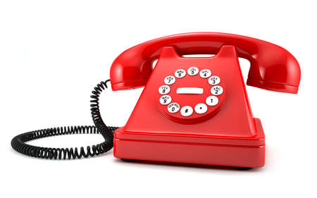 rotary dial telephone: 3d illustration of red old-fashioned phone on white background