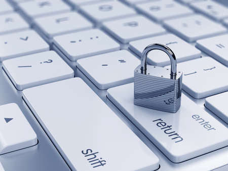 개인 정보 보호: 컴퓨터 키보드에 크롬 자물쇠의 3d 그림. 보안 개념 스톡 사진