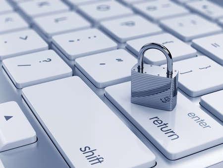 3D-Darstellung von Chrom Vorhängeschloss an der Computer-Tastatur. Sicherheitskonzept Standard-Bild