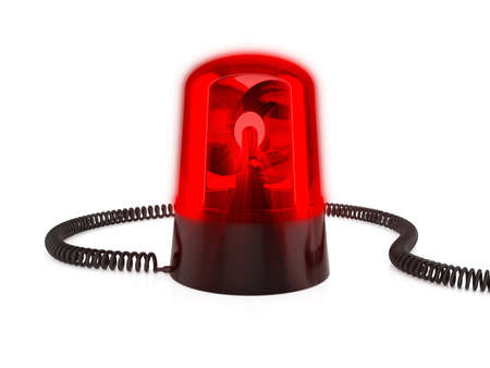 red siren: 3d render of red flashing light on a white background