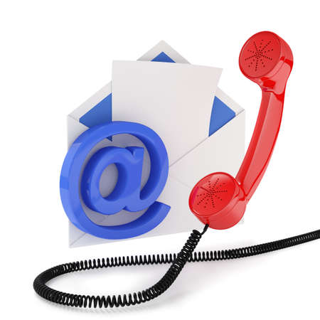 email contact: 3d illustration of comunication concept. Isolated on white background  Stock Photo