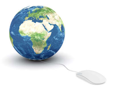 electronic commerce: 3d render of white glossy computer mouse connected to a globe Earth  Stock Photo
