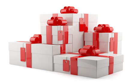 3d render of closed gift boxes over white background photo
