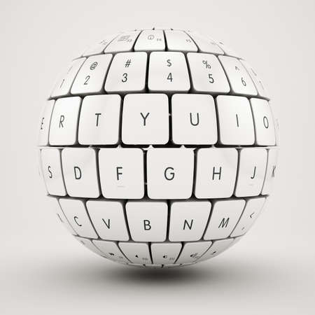 computer education: 3d illustration of keyboard sphere