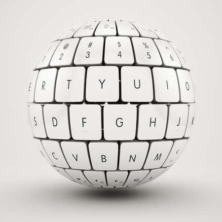gravedad: 3d ilustración de la esfera teclado Foto de archivo