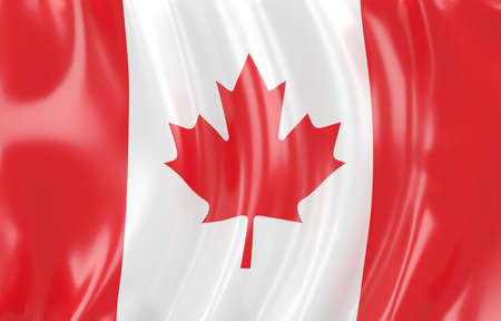 canadian flag: 3d illustration of Canadian flag. Wavy texture