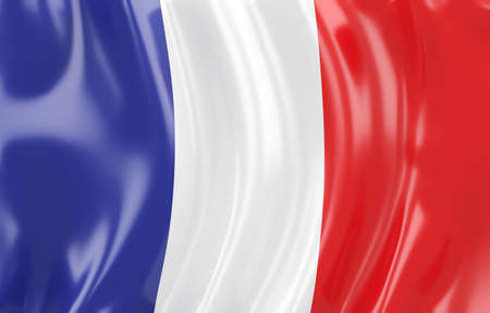 flag french icon: 3d illustration of France flag. Wavy texture