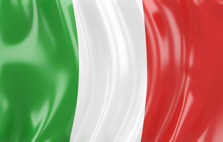 3d illustration of Italy flag. Wavy texture illustration