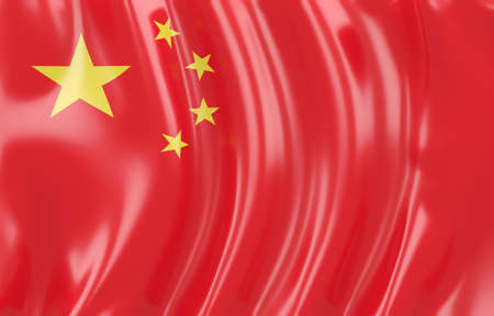 chinese flag: 3d illustration of China flag. Wavy texture Stock Photo
