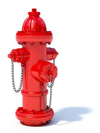brandweer cartoon: 3D-afbeelding van rode brandkraan op een witte achtergrond