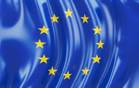 eu flag: 3d illustration of Euro flag. Wavy texture