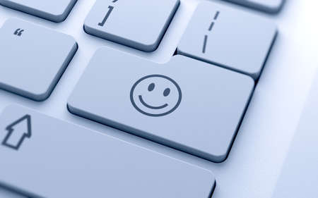 3d illustration of smile icon button on keyboard with soft focus Stock Illustration - 17696731