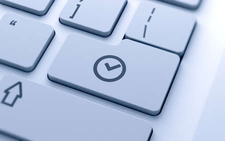 3d illustration of clock icon button on keyboard with soft focus illustration