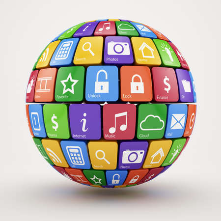 3d illustration of colorful social media sphere Stock Illustration - 17807350