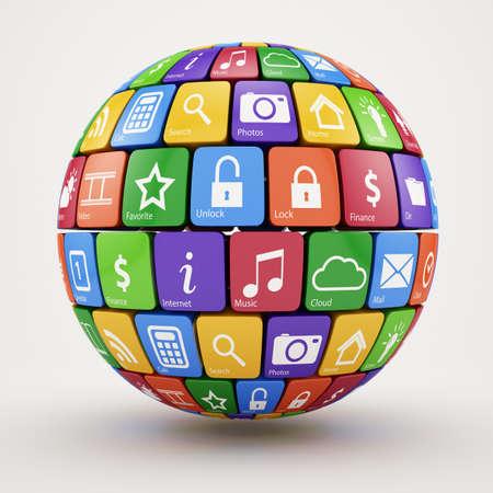 red sphere: 3d illustration of colorful social media sphere