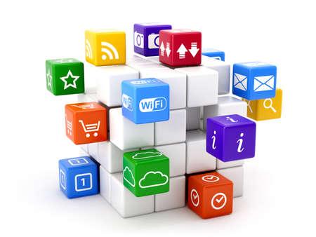 interaccion social: 3d ilustraci�n de iconos concepto de software aisladas sobre fondo blanco