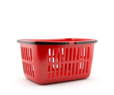 grocery basket: 3d illustration of shopping basket isolated on white background