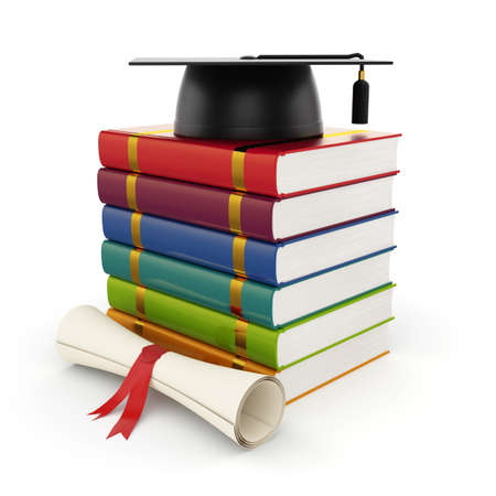 3d illustration of books with graduation cap isolated