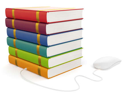 3d illustration of books with computer mouse isolated illustration