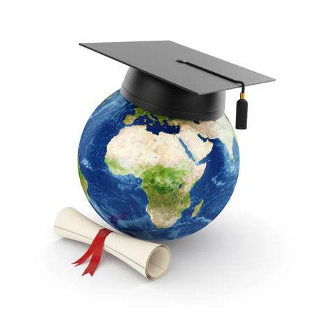 fondo de graduacion: Ilustraci�n 3D del planeta Tierra con casquillo de la graduaci�n aislado
