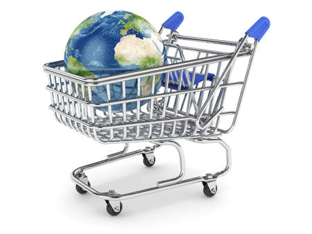 3d illustration of Earth planet in the shopping cart. Isolated on white illustration