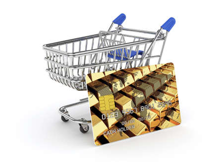 3d illustration of shopping cart with credit card. Isolated on white background illustration