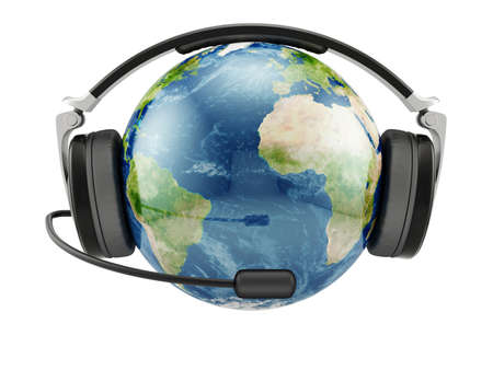 telephony: 3d illustration of Earth planet with earphones and microphone isolated. Stock Photo
