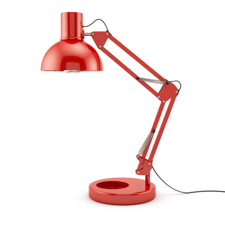 3d illustration of red table lamp isolated on white background Stock Photo