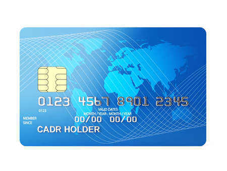 debit card: 3d illustration of credit card front view  Isolated on white background Stock Photo