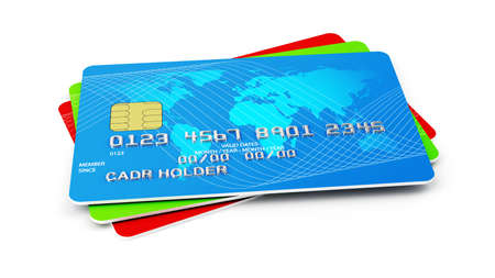 3d illustration of credit cards stack  Isolated on white background Stock Photo