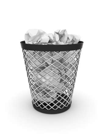 wastepaper: 3d illustration of trash bin with crumpled paper  Isolated on white background Stock Photo