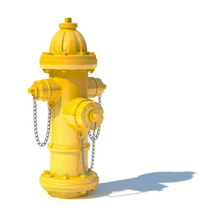 fire hydrant: 3d illustration of yellow fire hydrant isolated on white background