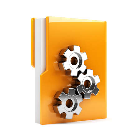 3d illustration of folder with gears  Isolated on white background illustration