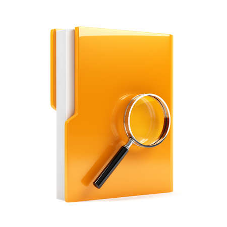 3d illustration of folder with magnifying glass  Isolated on white background illustration