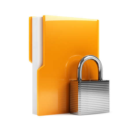 3d illustration of folder with padlock  Isolated on white background Stock Illustration - 18347805