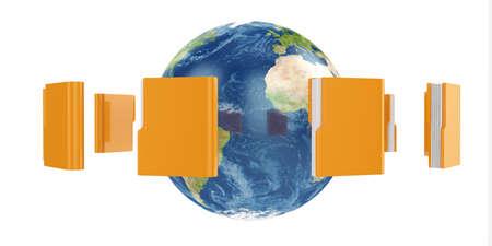 3d illustration of Earth globe with flying folders around illustration