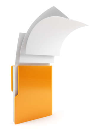 technology symbols metaphors: 3d illustration of computer folder with flying documents  Isolated on white background