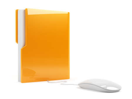 dir: 3d illustration of computer folder with mouse  Isolated on white background