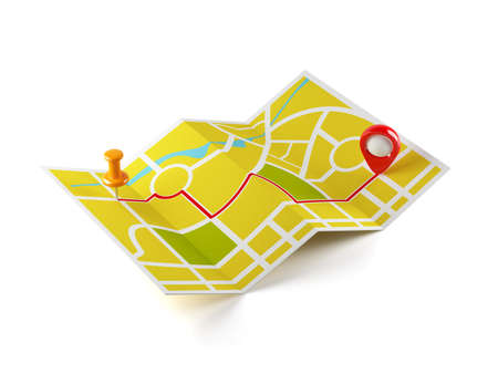 3d illustration of navigation map with guide line  Isolated on white background