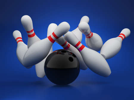 alleys: 3d illustration of bowling strike concept on blue background