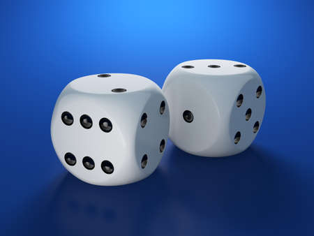 3d render of white dices on blue background photo